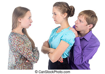 Cowardly young man and two women on white background