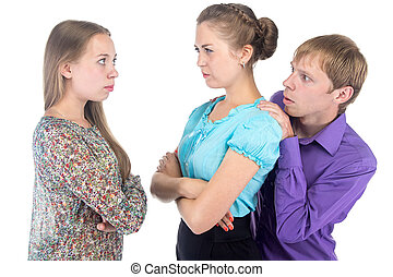 Cowardly blond man and two women on white background