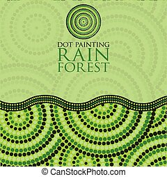 Dot painting invite greeting card in vector format