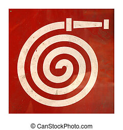 Fire hydrant sign - Red grunge fire hydrant plug sign over...