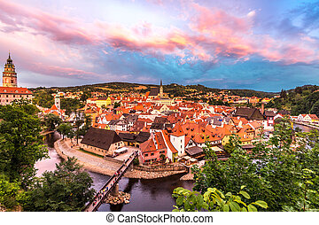 Cesky Krumlov, Czech Republic - Aerial view of old Town of...