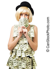 Shocked woman won a fortune stand in dress of dollars