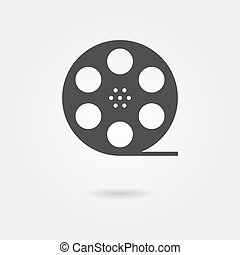 film reel icon with shadow concept of filmmaking,...