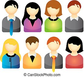 Vector icon set of people isolated over white background