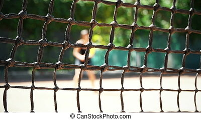 Tennis Court With The Net Slow Motion