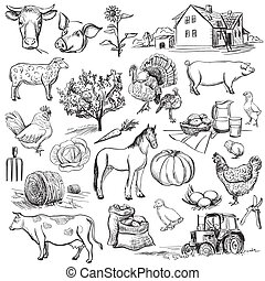 Farm collection - hand drawn set with cow, goat, pig,...
