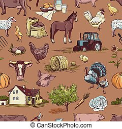 seamless pattern with farm related items with cow, goat,...