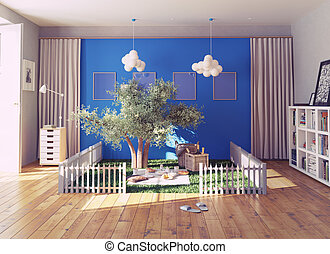 picnic place - the cozy picnic place in a living interior....