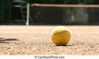 Tennis Ball On The Court Slow Motion