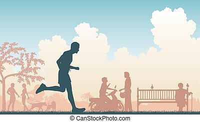 Jogger - EPS8 editable vector illustration of a jogger...