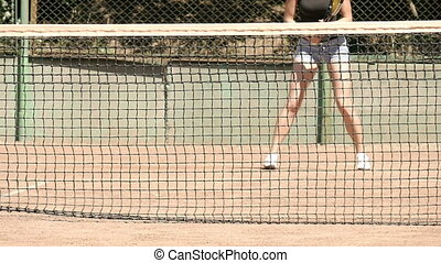 Players Playing At Tennis Court Slow Motion