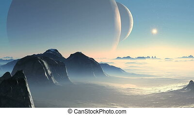 Two moon and Alien Planet - Two huge planet moon is slowly...