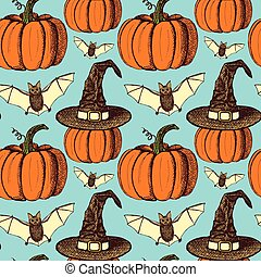 Sketch Halloween seamless pattern in vintage style, vector