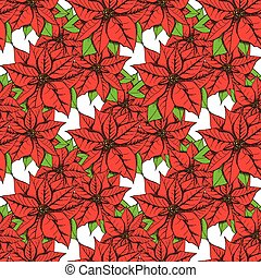 Sketch poinsettia in vintage style, vector seamless pattern