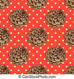 Sketch pine cone in vintage style, vector seamlless pattern
