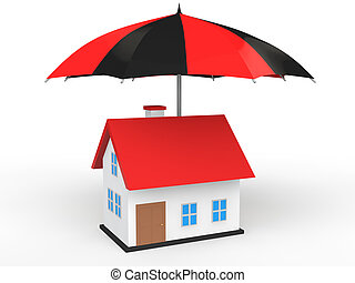 3d house under umbrella