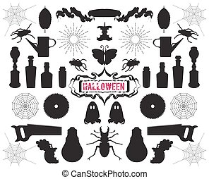 Set of silhouettes and shapes on Halloween theme vector -...