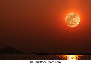 Full moon with reflection