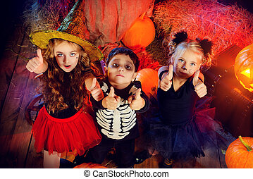 best halloween - Three children dressed as a witch, a...