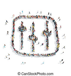 people shape adjustment cartoon - A group of people in the...