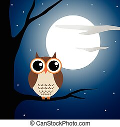 Owl sitting on a branch at night