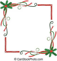 Christmas holly berries frame - Christmas themed holly...