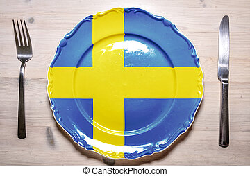 Dinner plate Sweden - A flag concept of a dinner plate with...