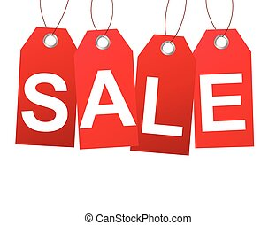 Red sale tags banner design