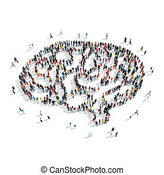 people shape brain crowd - A group of people in the shape of...