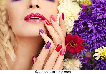 Asters - Colorful makeup and manicure with summer flowers...