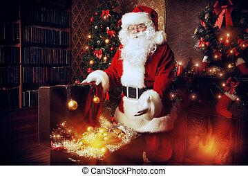 Santa Claus - Old Santa Claus with Christmas gifts at home...
