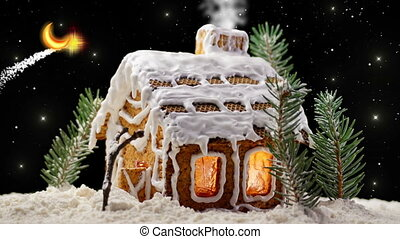 Christmas Gingerbread House with Starry Sky and Moon