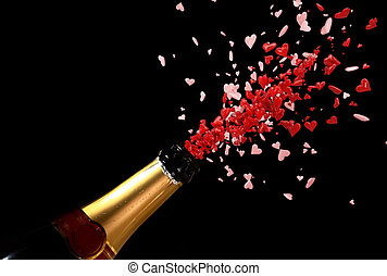 explosion of love - champagne bottle with shooting love red...