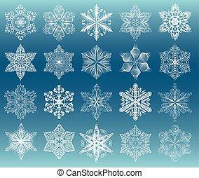 Snowflake white set - Snowflake set, white images on dark...