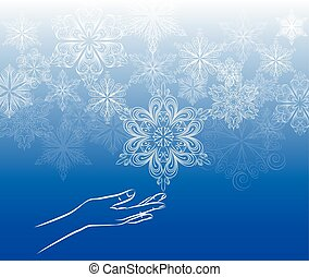 Touch snowflake background, hand touching the snowflake, on...
