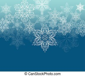 Winter ornament background, white snowflakes on dark cyan...