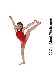 young girl doing a split and wearing red leotard
