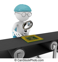 chip on the assembly line - man with a magnifying glass...