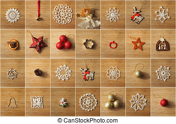 Christmas tree decorations collage on a wooden background
