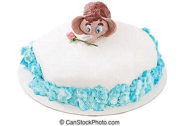 Mastic, pastel, hechaa mano, con, Un, bebé, Mamut,