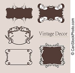 vector set: calligraphic design elements and page decoration, Premium Quality and Satisfaction Guarantee Label collection with vintage engraving flowers