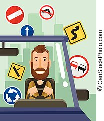 Driver is driving Vector flat illustration