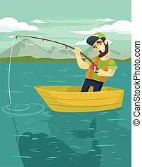 Fisherman catching a big fish Vector flat illustration