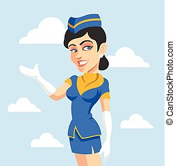 Stewardess. Vector flat illustration
