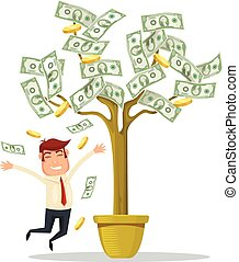 Businessman and money tree
