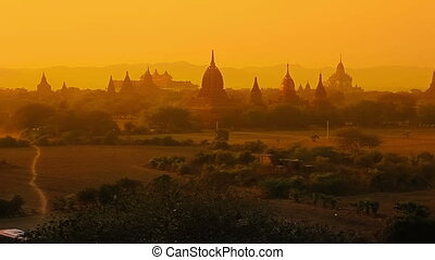 Sunset in Bagan - Colorful sunset in Bagan, Myanmar Hundreds...