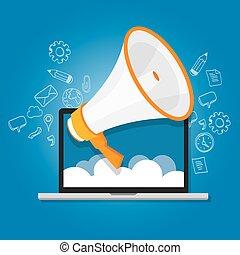 megaphone announce speaker shout online public relation...