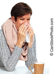 Woman with facial tissue having flu.