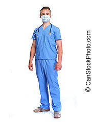 Doctor in mask. - Young medical doctor isolated over white...