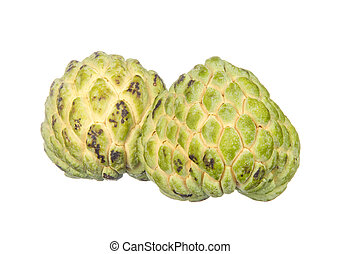 Two custard apples isolated on white background